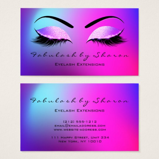 Makeup Eyebrow Lashes Glitter Bright Miami Pink Business Card