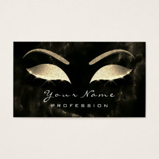 Makeup Eyebrow Lashes Glitter Diamond Black Marble Business Card