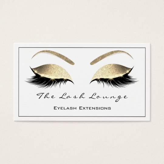 Makeup Eyebrow Lashes Glitter Gold White Black2 Business Card