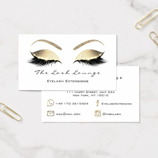 Makeup Eyebrow Lashes Glitter Gold White Black Business Card