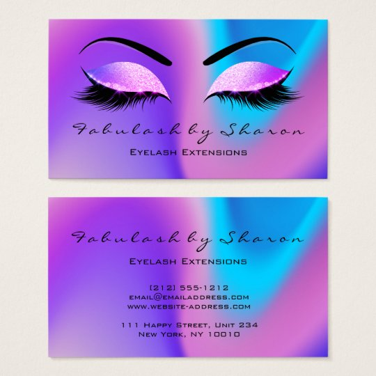 Makeup Eyebrow Lashes Glitter Skinny Miami Beach Business Card