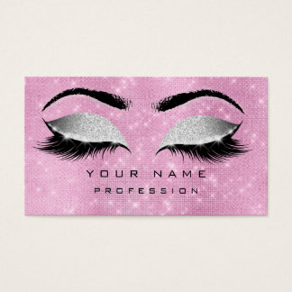 Makeup Eyebrows Lashes Extention Pink Silver Gray Business Card