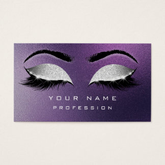 Makeup Eyebrows Lashes Extention Purple Silver Business Card