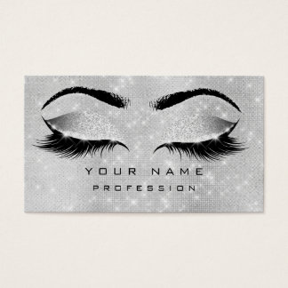 Makeup Eyebrows Lashes Extention Silver Gray Spark Business Card