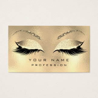 Makeup Eyebrows Lashes Glitter Diamond Gold Glam Business Card