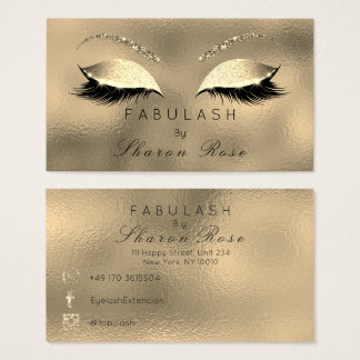 Makeup Eyebrows Lashes Glitter Diamond Gold Sepia Business Card