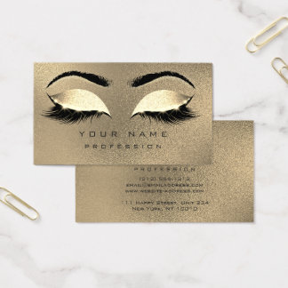 Makeup Eyebrows Lashes Glitter Glam Gold Sepia Business Card