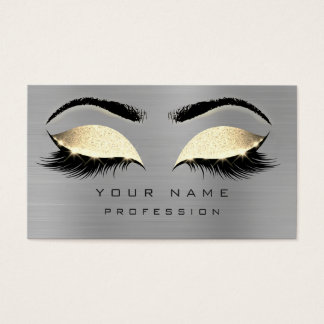 Makeup Eyebrows Lashes Glitter Gray  Sepia Gold Business Card