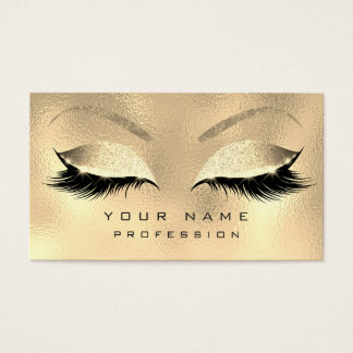 Makeup Eyebrows Lashes Glitter Metallic Sepia Gold Business Card