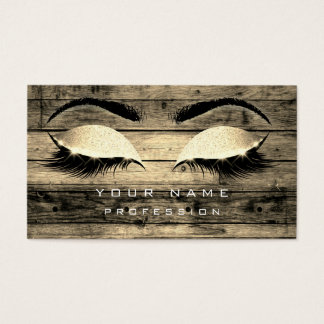 Makeup Eyebrows Lashes Rustic Black Wood Sepia Business Card