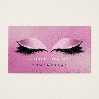 Makeup Eyes Lashes Glitter Glass Raspberry Pink Business Card