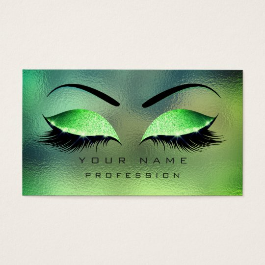 Makeup Eyes Lashes Glitter Tropical Green Eyebrow Business Card