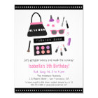 Makeup Fashion Show Birthday Party Invitations