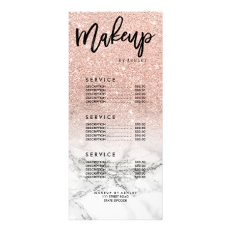 Makeup faux rose pink glitter marble price list customized rack card