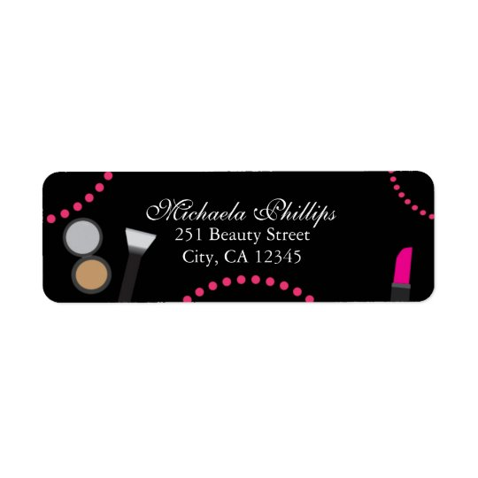 Makeup Glamour Chic Swirl Party Address Label