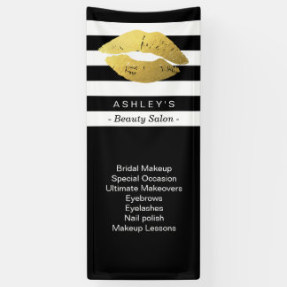 Makeup Gold Lips Beauty Salon Black White Striped Banner