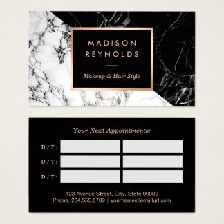 Makeup & Hair Salon Black White Marble Appointment Business Card