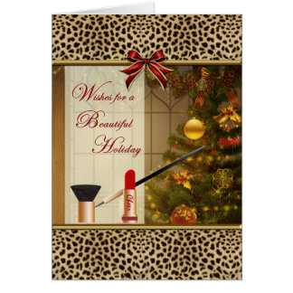 Makeup Happy Holidays Leopard Print Blank Card