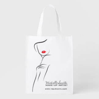 Makeup Icon Woman face in black white red lips Grocery Bags