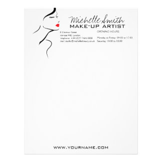 Makeup Icon Woman face in black white red lips Letterhead Template