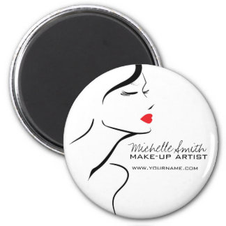 Makeup Icon Woman face in black white red lips Magnet