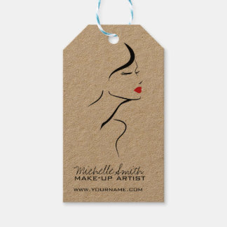 Makeup Icon Woman face in black white red lips Pack Of Gift Tags