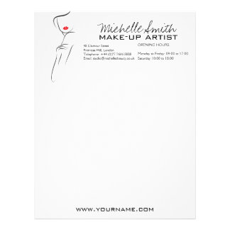 Makeup Icon Woman face in black white red lips Personalized Letterhead