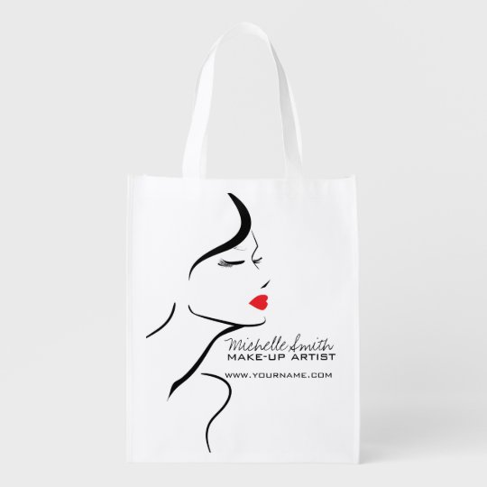 Makeup Icon Woman face in black white red lips Reusable Grocery Bag