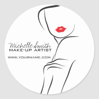 Makeup Icon Woman face in black white red lips Round Sticker