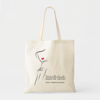 Makeup Icon Woman face in black white red lips Tote Bag