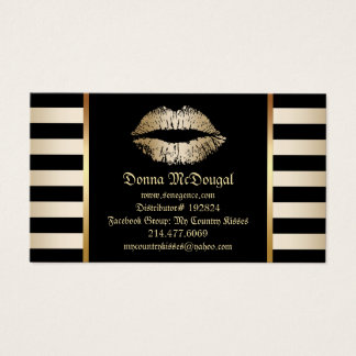 Makeup Lip Product Distributor Modern Gold Lips Business Card