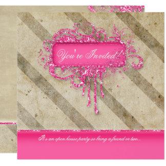 Makeup Nail Salon Vintage Stripes Glitter Grunge P Card