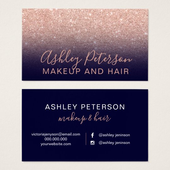 Makeup navy blue typography rose gold glitter business card