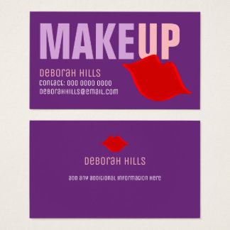 makeup red lips contact-card / make-up artist business card