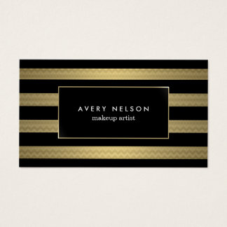 Makeup striped zigzag business card
