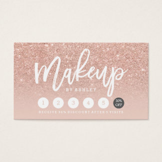 Makeup typography blush rose gold punch card