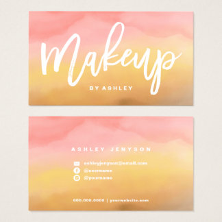 Makeup typography boho ombre watercolor business card
