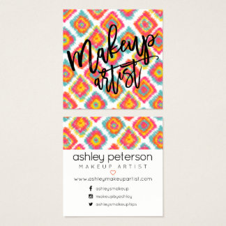 Makeup typography pink yellow boho ikat square business card