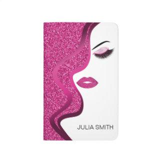 Makeup with glitter effect journal