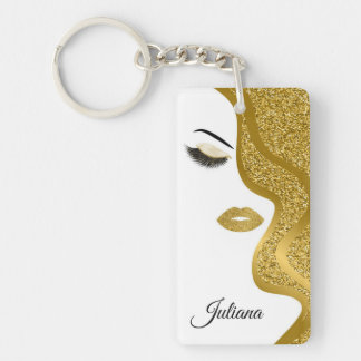 Makeup with glitter effect keychain