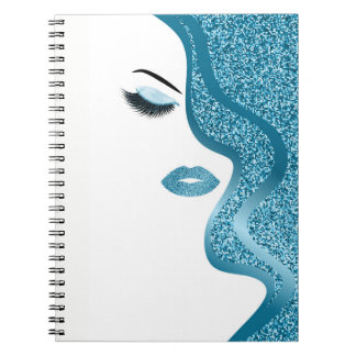 Makeup with glitter effect notebook