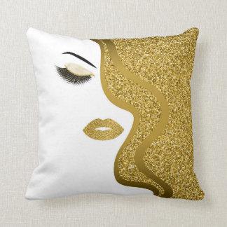 Makeup with glitter effect throw pillow