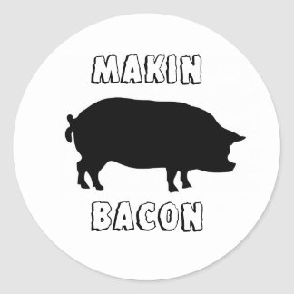 makin bacon logo #3 round sticker