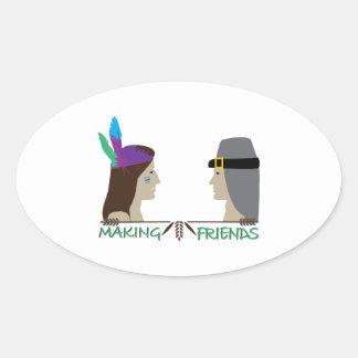 Making Friends Oval Sticker
