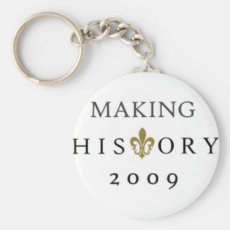 MAKING HISTORY 2009 WHODAT NATION BASIC ROUND BUTTON KEYCHAIN