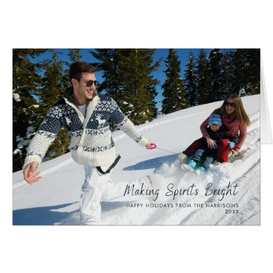 Making Spirits Bright Dark Teal Snowflake Photo Card