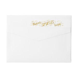 Making Spirits Bright Holiday Gold Address Sticker Wrap Around Label