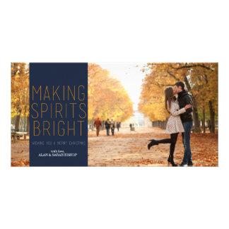 Making Spirits Bright - Navy and Fuschia Customized Photo Card