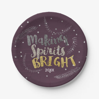 Making Spirits Bright Silver Leaves Purple Holiday 7 Inch Paper Plate