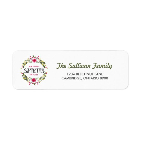 Making Spirits Bright Wreath Holiday Address Label